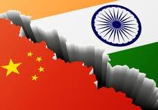 Βαθιά ρωγμή Κίνα Ινδία ελεύθερη απεικόνιση δικαιώματος