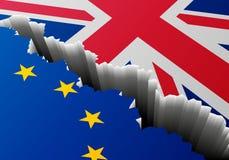Βαθιά ρωγμή της Ευρώπης Ηνωμένο Βασίλειο σημαιών απεικόνιση αποθεμάτων