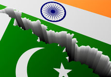 Βαθιά ρωγμή του Πακιστάν Ινδία σημαιών απεικόνιση αποθεμάτων
