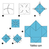 Βαθμιαία οδηγίες πώς να κάνει τη μαφία Ιαπωνία origami Στοκ Εικόνα