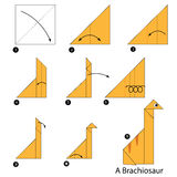 Βαθμιαία οδηγίες πώς να κάνει το δεινόσαυρο origami Α Στοκ Φωτογραφίες