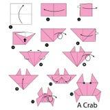 Βαθμιαία οδηγίες πώς να κάνει το καβούρι origami Στοκ φωτογραφία με δικαίωμα ελεύθερης χρήσης