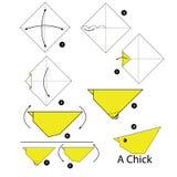 Βαθμιαία οδηγίες πώς να κάνει το νεοσσό origami Στοκ Φωτογραφίες