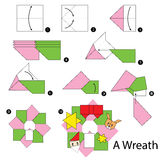 Βαθμιαία οδηγίες πώς να κάνει το στεφάνι Χριστουγέννων origami Στοκ εικόνα με δικαίωμα ελεύθερης χρήσης