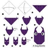 Βαθμιαία οδηγίες πώς να κάνει το origami έναν κάνθαρο αρσενικών ελαφιών Στοκ εικόνα με δικαίωμα ελεύθερης χρήσης