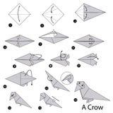 Βαθμιαία οδηγίες πώς να κάνει το origami έναν κόρακα Στοκ φωτογραφία με δικαίωμα ελεύθερης χρήσης