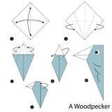 Βαθμιαία οδηγίες πώς να κάνει το origami έναν δρυοκολάπτη Στοκ Εικόνες