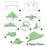 Βαθμιαία οδηγίες πώς να κάνει το origami ένα αεροπλάνο Στοκ Εικόνες