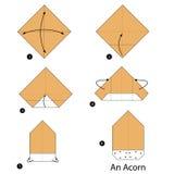 Βαθμιαία οδηγίες πώς να κάνει το origami ένα βελανίδι Στοκ Φωτογραφίες