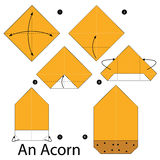 Βαθμιαία οδηγίες πώς να κάνει το origami ένα βελανίδι Στοκ φωτογραφία με δικαίωμα ελεύθερης χρήσης
