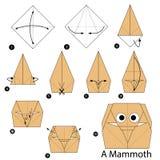 Βαθμιαία οδηγίες πώς να κάνει το origami ένα μαμούθ Στοκ Φωτογραφία
