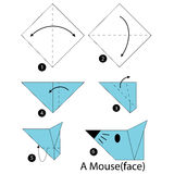 Βαθμιαία οδηγίες πώς να κάνει το origami ένα ποντίκι Στοκ φωτογραφία με δικαίωμα ελεύθερης χρήσης