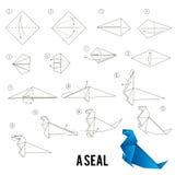 Βαθμιαία οδηγίες πώς να κάνει το origami ένα πουλί διανυσματική απεικόνιση