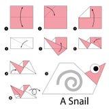 Βαθμιαία οδηγίες πώς να κάνει το origami ένα σαλιγκάρι Στοκ φωτογραφίες με δικαίωμα ελεύθερης χρήσης