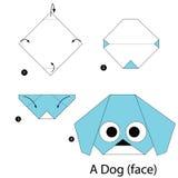 Βαθμιαία οδηγίες πώς να κάνει το origami ένα σκυλί (πρόσωπο) Στοκ Φωτογραφία