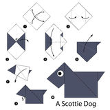 Βαθμιαία οδηγίες πώς να κάνει το origami ένα σκυλί σκωτσέζων απεικόνιση αποθεμάτων