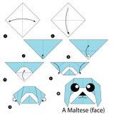 Βαθμιαία οδηγίες πώς να κάνει το origami ένα σκυλί Στοκ Φωτογραφίες