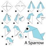 Βαθμιαία οδηγίες πώς να κάνει το origami ένα σπουργίτι Στοκ εικόνες με δικαίωμα ελεύθερης χρήσης