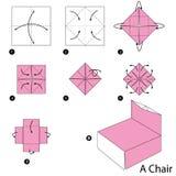 Βαθμιαία οδηγίες πώς να κάνει το origami μια έδρα Στοκ φωτογραφίες με δικαίωμα ελεύθερης χρήσης