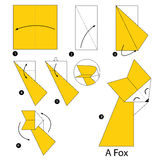 Βαθμιαία οδηγίες πώς να κάνει το origami μια αλεπού Στοκ εικόνες με δικαίωμα ελεύθερης χρήσης