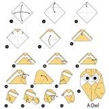 Βαθμιαία οδηγίες πώς να κάνει το origami μια κουκουβάγια Στοκ εικόνες με δικαίωμα ελεύθερης χρήσης
