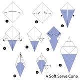Βαθμιαία οδηγίες πώς να κάνει το origami μια μαλακή κρέμα Στοκ Φωτογραφία