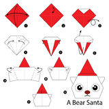 Βαθμιαία οδηγίες πώς να κάνει το origami να αντέξει Santa Στοκ Εικόνα