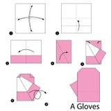 Βαθμιαία οδηγίες πώς να κάνει το origami τα γάντια Στοκ φωτογραφία με δικαίωμα ελεύθερης χρήσης