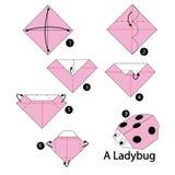 Βαθμιαία οδηγίες πώς να κάνει το origami ladybug Στοκ Εικόνες