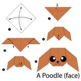 Βαθμιαία οδηγίες πώς να κάνει το origami Poodle Στοκ Φωτογραφία
