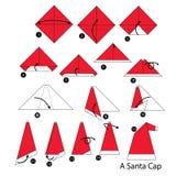 Βαθμιαία οδηγίες πώς να κάνει το origami Santa ΚΑΠ Στοκ Εικόνες