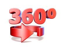 360 βαθμοί βλέπουν το οριζόντιο βέλος τρισδιάστατο Στοκ εικόνα με δικαίωμα ελεύθερης χρήσης