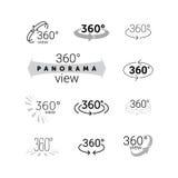 360 βαθμοί που περιστρέφονται το εικονίδιο άποψης εικονικής πραγματικότητας VR Στοκ Εικόνες