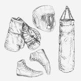βαθμολογημένο γάντια χτύπημα εξοπλισμού έννοιας εγκιβωτισμού σφαιρών ανασκόπησης συρμένος εικονογράφος απεικόνισης χεριών ξυλάνθρ ελεύθερη απεικόνιση δικαιώματος