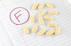 Βαθμός φ με το φάρμακο στοκ εικόνες με δικαίωμα ελεύθερης χρήσης