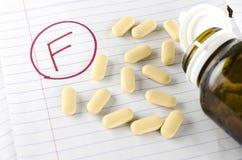 Βαθμός φ με το φάρμακο στοκ εικόνα