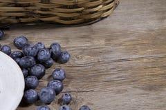 Βακκίνια και άσπρο cermaic πιάτο στο ξύλινο υπόβαθρο στοκ φωτογραφία με δικαίωμα ελεύθερης χρήσης