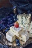 Βακκίνια και σταφύλια με το τυρί Gorgonzola και Camembert με lavender κλείστε Χωριό Στοκ εικόνα με δικαίωμα ελεύθερης χρήσης