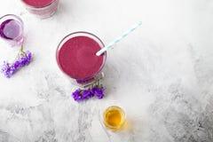 Βακκίνιο, βατόμουρο, αγιόκλημα, honeyberry καταφερτζής με το ιώδες σιρόπι και acai Στοκ Εικόνες
