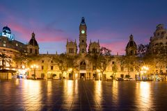 Βαλένθια Δημαρχείο Plaza del Ayuntamiento στη Βαλένθια, Ισπανία Στοκ Εικόνες