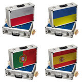 Βαλίτσα με τις ευρο- σημαίες και τα χρήματα Στοκ φωτογραφία με δικαίωμα ελεύθερης χρήσης