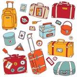Βαλίτσες που τίθενται εκλεκτής ποιότητας. Διανυσματική απεικόνιση ταξιδιού. ελεύθερη απεικόνιση δικαιώματος