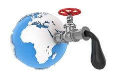 Βαλβίδα πετρελαίου με τον παγκόσμιο χάρτη Στοκ φωτογραφία με δικαίωμα ελεύθερης χρήσης