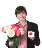 βαλεντίνοι ατόμων δώρων λουλουδιών στοκ εικόνα