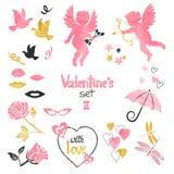 Βαλεντίνοι καθορισμένοι Συλλογή των cupids και των ρομαντικών στοιχείων για το σχέδιο ευχετήριων καρτών ελεύθερη απεικόνιση δικαιώματος