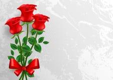 βαλεντίνος ημέρας s κάρτα που χαιρετά τα κόκκινα τριαντάφυλλα απεικόνιση αποθεμάτων