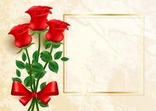 βαλεντίνος ημέρας s κάρτα που χαιρετά τα κόκκινα τριαντάφυλλα διανυσματική απεικόνιση