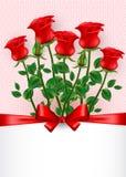 βαλεντίνος ημέρας s κάρτα που χαιρετά τα κόκκινα τριαντάφυλλα ελεύθερη απεικόνιση δικαιώματος