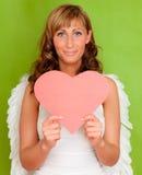 βαλεντίνος καρδιών αγγέλ Στοκ φωτογραφία με δικαίωμα ελεύθερης χρήσης