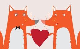 βαλεντίνος καρδιών αλεπούδων Στοκ εικόνα με δικαίωμα ελεύθερης χρήσης